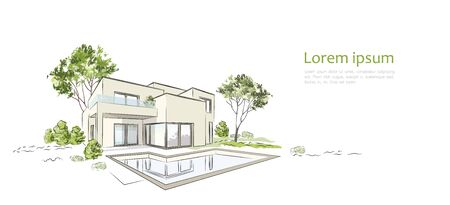 Vector architectural sketch modern exclusive house. Illustration