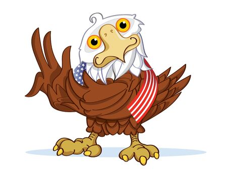 Eagle with American flag Vector