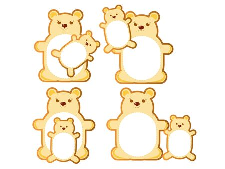 Teddy bear  with mom, sticker for stores Illustration