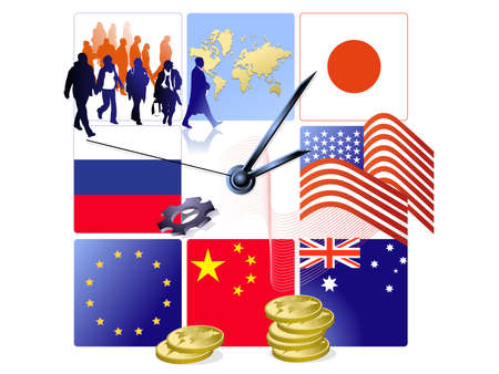 Clock with world map, silhouettes of people, flags of USA, Australia, Japan, Russia, EU and China, illustration Illustration