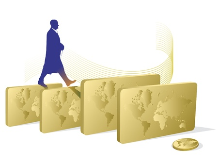 business man walking through the gold bars Vector