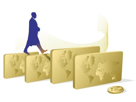 business man walking through the gold bars