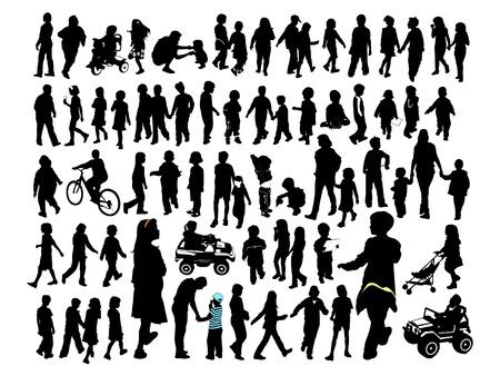 parents and children: Children, silhouette Illustration