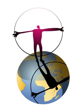 Mans world, silhouette of man holding a circular frame on the globe Illustration