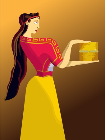 pry: Pandora, the Greek girl with a box in her hands