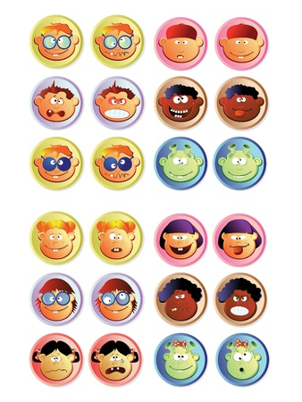 Boys and girls, buttons Vector