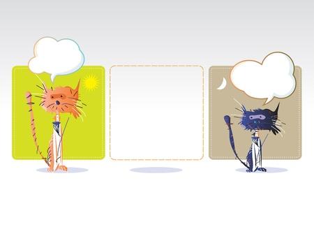 Chatting cats Illustration