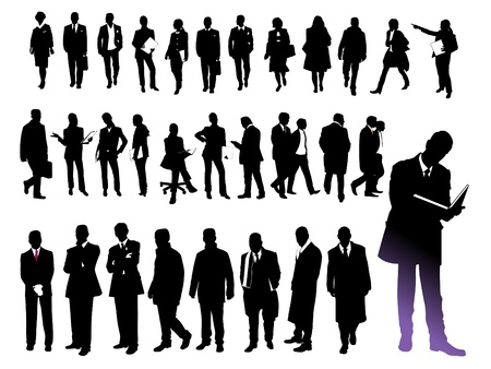worker silhouette: business people, silhouette