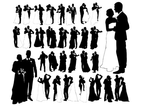 wedlock: Just married, silhouette Illustration