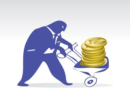 broker pushes a cart full of money