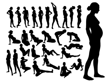 women yoga: silhouettes of pregnant women