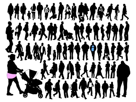 group of old people: people, silhouette, set  Illustration