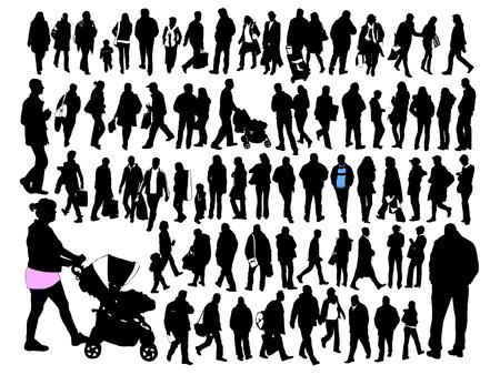 people silhouettes: people, silhouette, set  Illustration