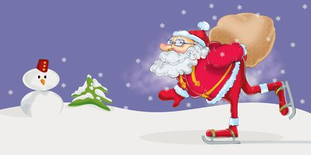 Santa Claus, the old runner Stock Photo