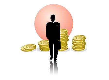 businessman, vignette  Illustration