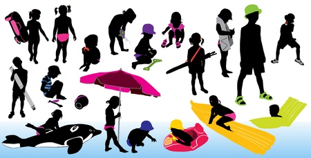 Children playing on the beach, silhouettes