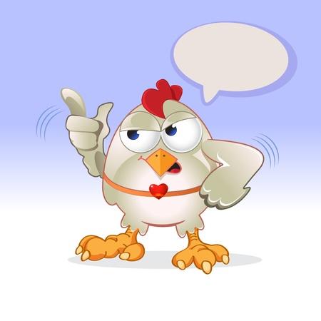 White hen speaks loudly  Illustration