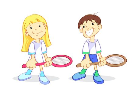 A boy and a girl with a tennis racket Vector