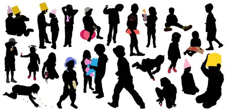 Silhouettes of boys and girls in the game
