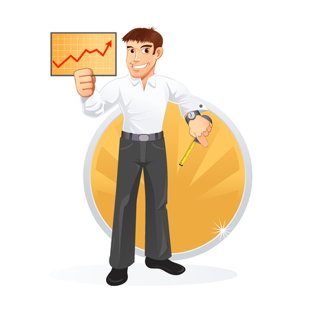 Broker with a ruler and statistical board