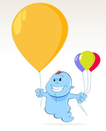 little blue spirit with balloons Illustration