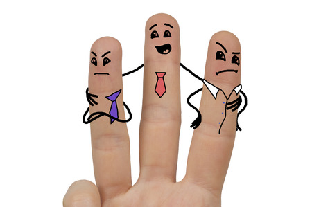 stickmen: three funny stickmen drawn on fingers, representing businessmen after quarrel attempting to make peace, isolated over white Stock Photo