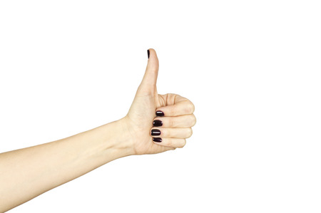 all ok: female hand making ok sign with thumb up isolated over white