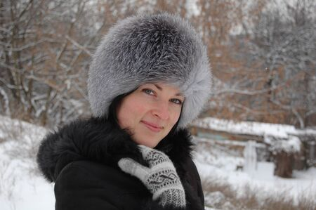 winter woman: pretty woman in winter outfit Stock Photo