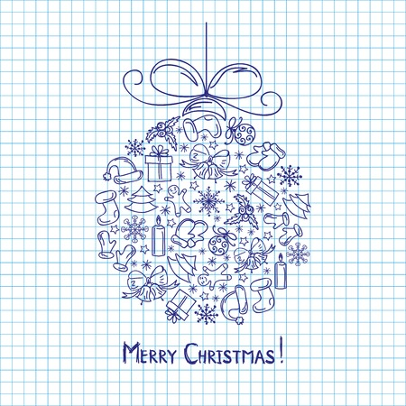 Christmas ball painted pen in a notebook Vector
