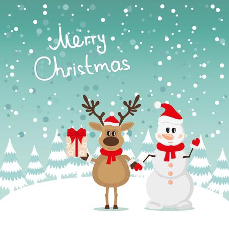 Postcard Snowman and Reindeer