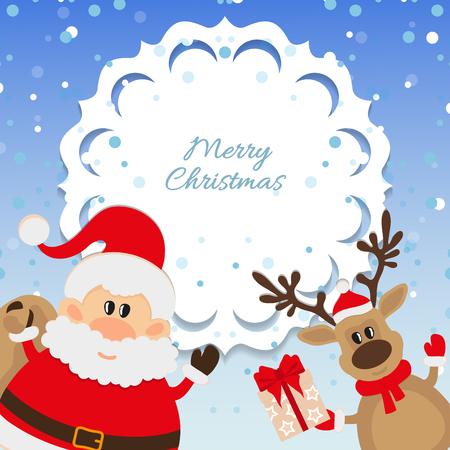 one year old: Santa Claus y los renos de antecedentes para Navidad Vectores