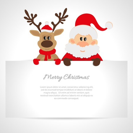 one year old: Santa Claus and reindeer with a place for text greeting card Illustration