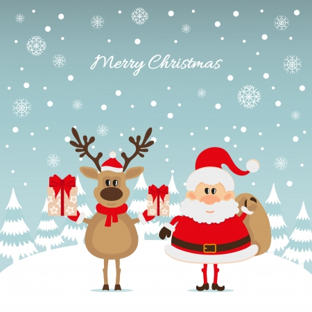oldman: Santa Claus and reindeer with gifts The Christmas card Illustration