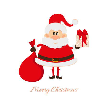 oldman: Santa Claus with a bag of gifts and gift box