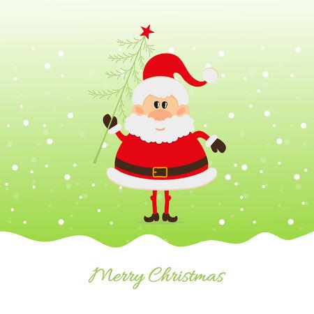 one year old: Pap� Noel con el �rbol de Navidad La tarjeta de Navidad Vectores