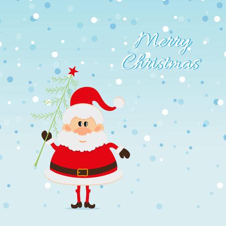 one year old: Pap� Noel con el �rbol de Navidad y la nieve La tarjeta de Navidad Vectores