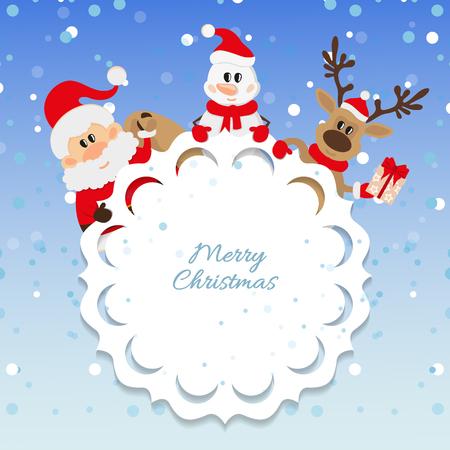 oldman: Santa Claus, snowman and reindeer background for Christmas Illustration