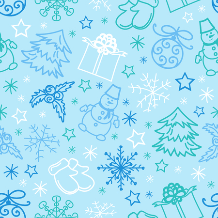 seamless pattern Christmas Figures Vector