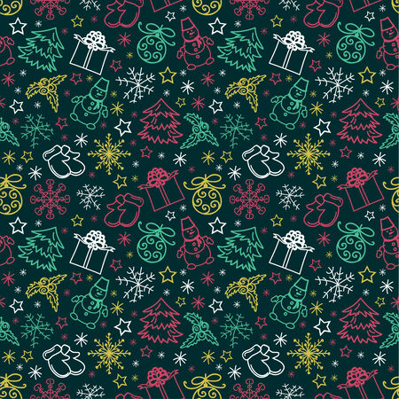 seamless pattern colorful Christmas items Vector