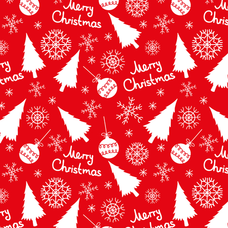 seamless pattern of christmas elements on a red background Vector