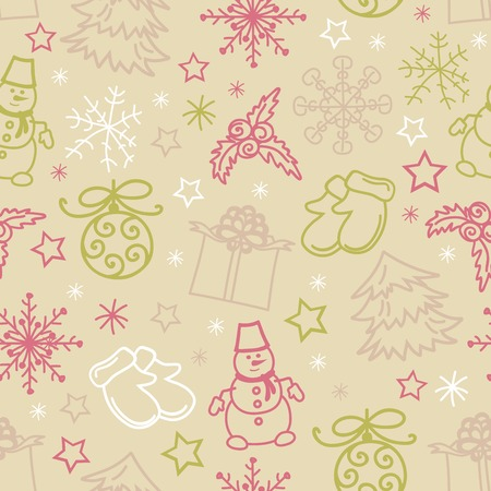 Seamless pattern of Christmas items Vector