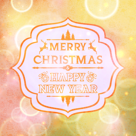 Abstract card with the words Merry Christmas and Happy New Year Vector