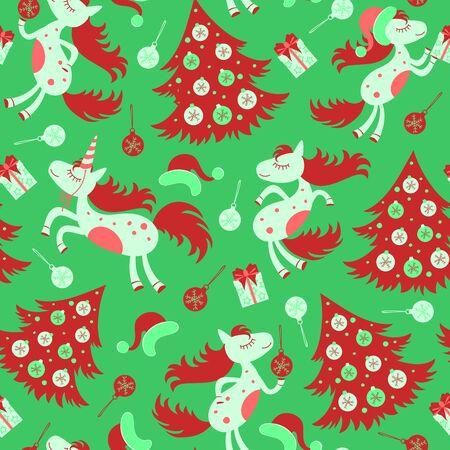 christmas seamless pattern: Christmas seamless pattern horse