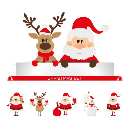 christmas set santa claus, Christmas reindeer, snowman Vector