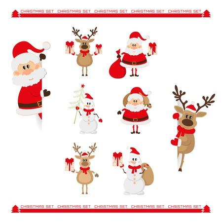 white bacjground: Santa Claus, reindeer, snowman, Christmas characters set