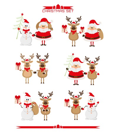 white bacjground: Set of Christmas characters, Santa Claus, reindeer, snowman