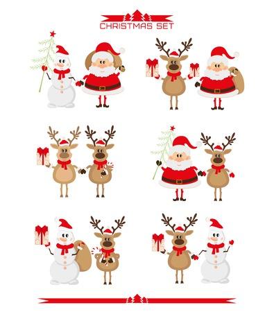 Set of Christmas characters, Santa Claus, reindeer, snowman