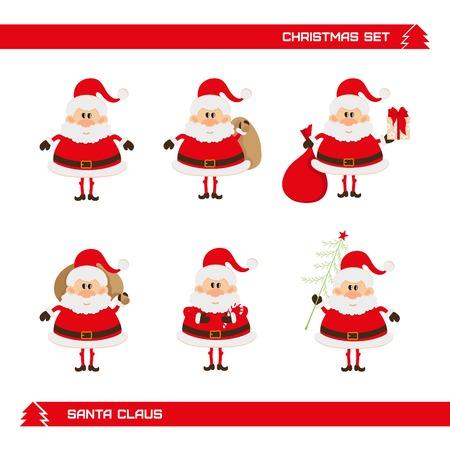 white bacjground: set of Christmas Santa Claus