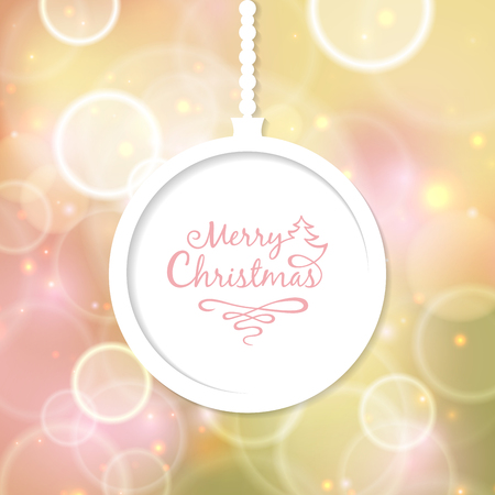 White Christmas ball with the inscription Vector