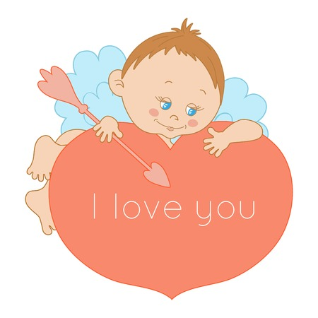 I love you, card Valentines Day with a cute cupid Vector